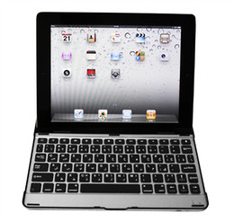 Wholesale Wireless Aluminum Keyboard Case For iPad Bluetooth Ultra thin Gift Cover free Ship PC