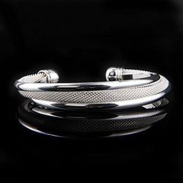 Por Pretty Women's 925 Silver Mesh Bangle Bracelet , Elegant Good Selling Cuff Bangle Free Shipping