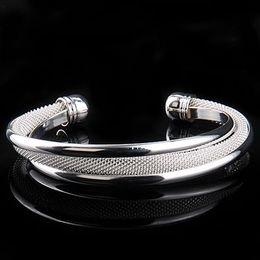 Hot Sale 925 Silver Mesh Bangle Bracelet , Elegant Pretty Wome's Cuff Bangle 10pcs Free Shipping