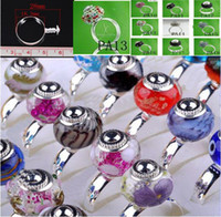 Wholesale FASHION silver rings Finding Fit Charm glass Beads Base Ring