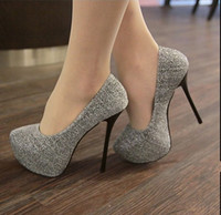 Women Grey Pumps Womens Fashion Sexy Platform Stiletto High Heels Shoes Pumps Size 35-39