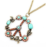 Wholesale Vintage Peace Symbol Necklace Gemstone Fashion Necklace Antique Jewelry