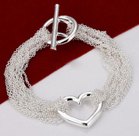 Wholesale Top Sale Silver Bracelet Multi Links Chain Heart Pendant Bracelet Silver Jewelry