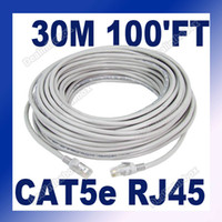 Wholesale 30M FT CAT5 RJ45 Ethernet Network Patch Gold Plated Connectors Cable Gray