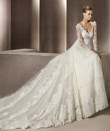 Wholesale 2015 Wedding Dresses Simple Empire Waist Long Sleeve Monarch Wedding Gown V Neck Cathedral Train Bridal Dress Lace Covered Back Bridal Dress