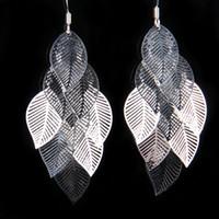 Wholesale Fesh Silver Pendant Earring Elegant Pretty Women s Mesh Leaf Earrings Jewelry Pair