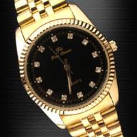 Wholesale Luxury Classic Men Golden Stainless Steel Strap Black Crystal Index Quartz Watch TN