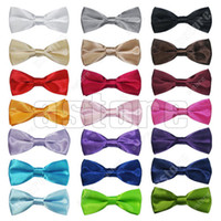 Wholesale 50 Children Kids Boys Toddler Infant Solid Bowtie Pre Tied Wedding Bow Tie silk tie black and white necktie silk jacquard wove