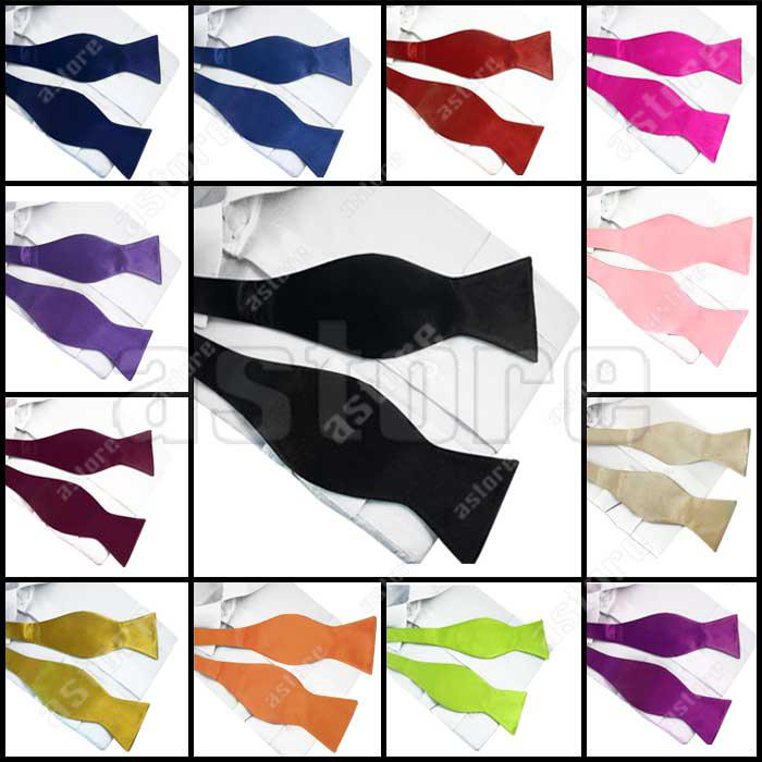 Wholesale 10 Pcs/lot + Hottest New Mens Solid Colorful Plain Silk Self Tie Bow Tie