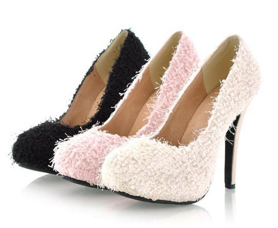Wholesale - Unique Women Shoes Wool Upper Material High Heel Shoes