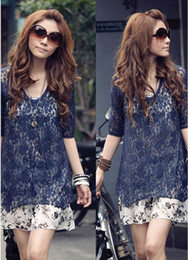 Wholesale Half Sleeve Lace Summer Mini Dresses Chiffon Blue White Korea Version Fashion Casual Dresses
