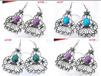 Wholesale 8 mixed color handmade Tibetan Silver exquisite Crystal Beaded dangle Earring er336