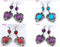 Wholesale 8 handmade Tibetan Silver drop exquisite Crystal Beaded dangle Earring er310