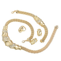 Wholesale New Hot sale Jewelry shining Austrian Crystal Gold fashion necklace amp earring amp bracelet amp ring set GD041