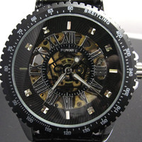 Wholesale BLACK HOLLOW AUTOMATIC MECHANICAL LEATHER MENS WATCH W031