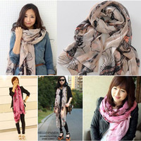 Wholesale New Fashion Begonia Flower ink Style Cotton Neck Scarf Shawl