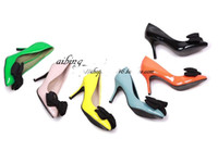 Wholesale Hot sale NEWEST womens fashion shallow mouth Large bow pointed Medium heeled popular wedding shoes