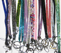 Wholesale Bling Bling Lanyard Crystal Rhinestone in neck with claw clasp ID Badge Holder for Mobile phone mix