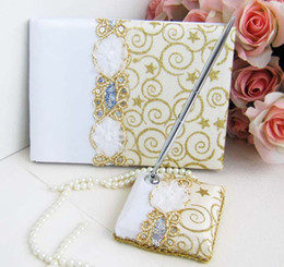 2012 new arrival Wedding Guest Books and Pens Set white paper Gold Threads for wedding favor