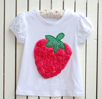 Girl shirt puff sleeve - b2w2 pettitop girls strawberry short sleeve children s cotton white T shirt Puff Sleeve T
