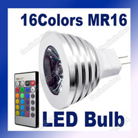 Wholesale MR16 V Color RGB LED Spotlight Light Aluminum Lamp Bulb Remote Control
