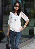 Women Cotton Round New 2014 Chiffon cotton patchwork long sleeve o-neck women t-shirts solid casual tshirts
