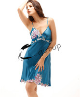 Wholesale Top Selling Women pajamas Fashion Sexy Straps Skirt Lace Embroider Home Wear Plus size Summer Casual Night Gown Nightgowns Sleepshi SG A