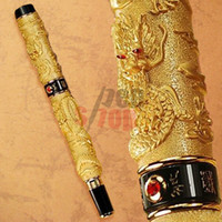 Wholesale JINHAO GOLDEN TWO DRAGON PLAY PEARL BROAD NIB FOUNTAIN PEN CRYSTAL