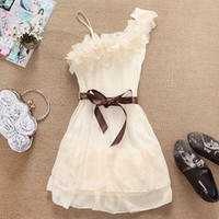 Wholesale New Fashion Nice One Shoulder Sweet Pleated Party Chiffon Dress HOT