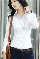 Women white blouses - New Fashion Women s Long Sleeve Cotton Blouse Ladies Shirt Black White