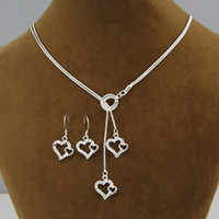 Wholesale Heart Jewelry Jewellery Sets Silver Necklaces Earrings Set Fashion Design Factory Price Gifts