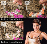 Wholesale Fashion Cool Style Basketball Wives Hoop Earrings Resin Bead Ladies Earring Mixed Color
