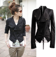 Wholesale Hot Fashion Trendy Korean Women Lady PU Leather Slim Jacket Coat