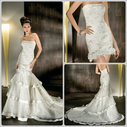 Wholesale 2012 New Strapless Detachable Multi tiered mini gown flowers Bridal Gown Lace Wedding Dresses