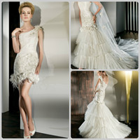Wholesale New One Shoulder Detachable Multi tiered Mini Gown Ostrich Feathers Bridal Gown Wedding Dresses