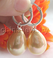 Women's Party Sterling Silver 20mm golden south sea shell pearl earring-925 silver