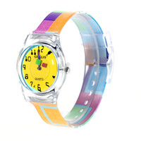 Digital Hardlex Analog 6018 Round Shaped Yellow Watch Dial Colorful Rainbow Plastic Cement Watchband Women's and Kid's Wris