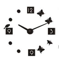 New Style DIY Design Foam Butterfly Bird 3D Wall Clock DIY D...