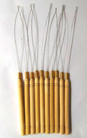 Wholesale Hair extension loop micro needle hook tool wooden handle feather hair extension tool In stock