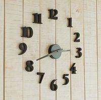 DIY Modern Time Design 3D Wall clock decor Room Black Clock ...