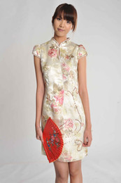 Wholesale Apricot Base Plum Flower Stand Collar Bud Sleeve Bride Dress Qi Pao TZ TQF20452A
