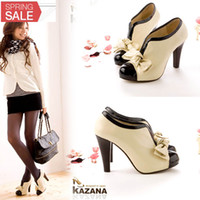 platform heels - Sexy Lady Beige Bow Pump Platform Women High Heel Shoes Size