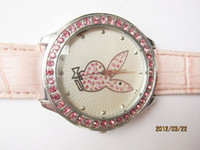 Luxury playboy watches - Playboy Play boy fashion red diamond white face wrist watch student lady gifts leather women watches