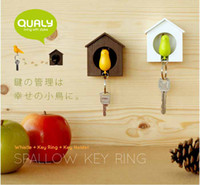 Wholesale Sparrow Key Ring Whistle Key Rings Keyholder Anti lost Key Seat Bird House Key Pendant