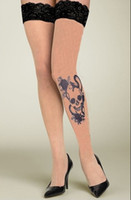 Wholesale Freeship New Sexy Rose And Skull Tattoo Women s Stockings High Qualtiy