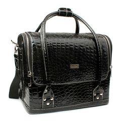 Wholesale Professional Makeup Train Cases cosmetic Case Multi function Storage Box Fashion Style PU Black