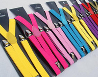 Wholesale New Candy Colors Y back Suspenders Clip on Adjustable Pants Y back Suspender Braces Elastic