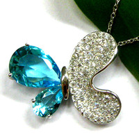 Wholesale Butterfuly Pendant Silver necklace Blue Topaz Stone DRI0494P