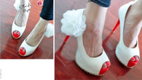 large womens shoes - NEWEST womens fashion shoes Sexy heel Waterproof Large flowers fish head sandals wedding shoes