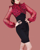 2012 New Design Women's Dresses E16 red Leopard Chiffon Mosa...